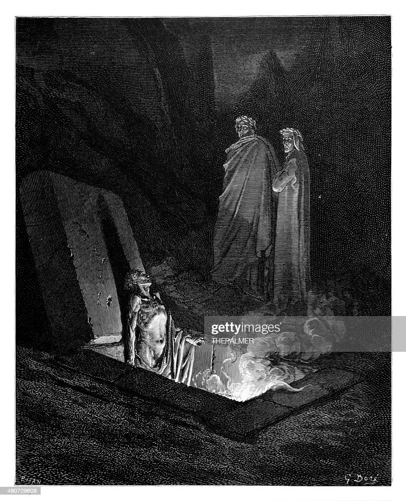 Dante and Virgil before Farinata : stock illustration