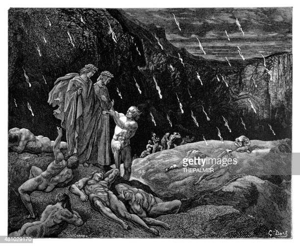 dante and virgil with brunetto latini - inferno stock illustrations, clip art, cartoons, & icons