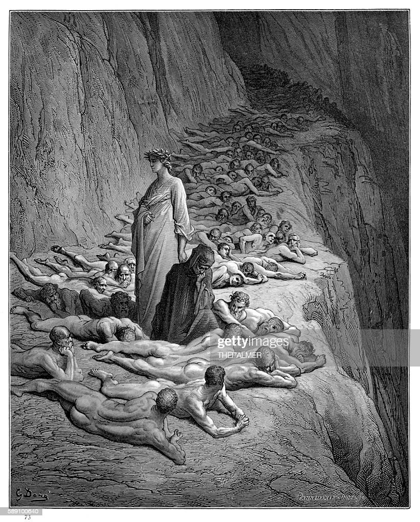 Dante with Pope Adrian V engraving 1870 : stock illustration