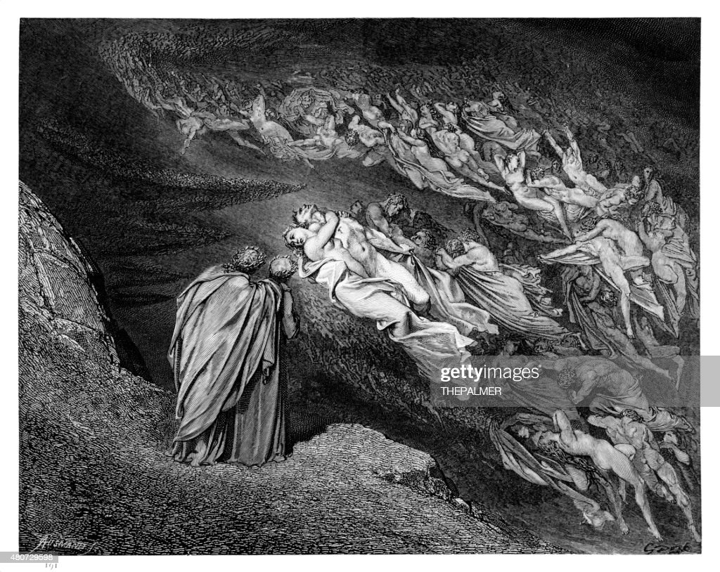 Dantes Inferno engraving : stock illustration