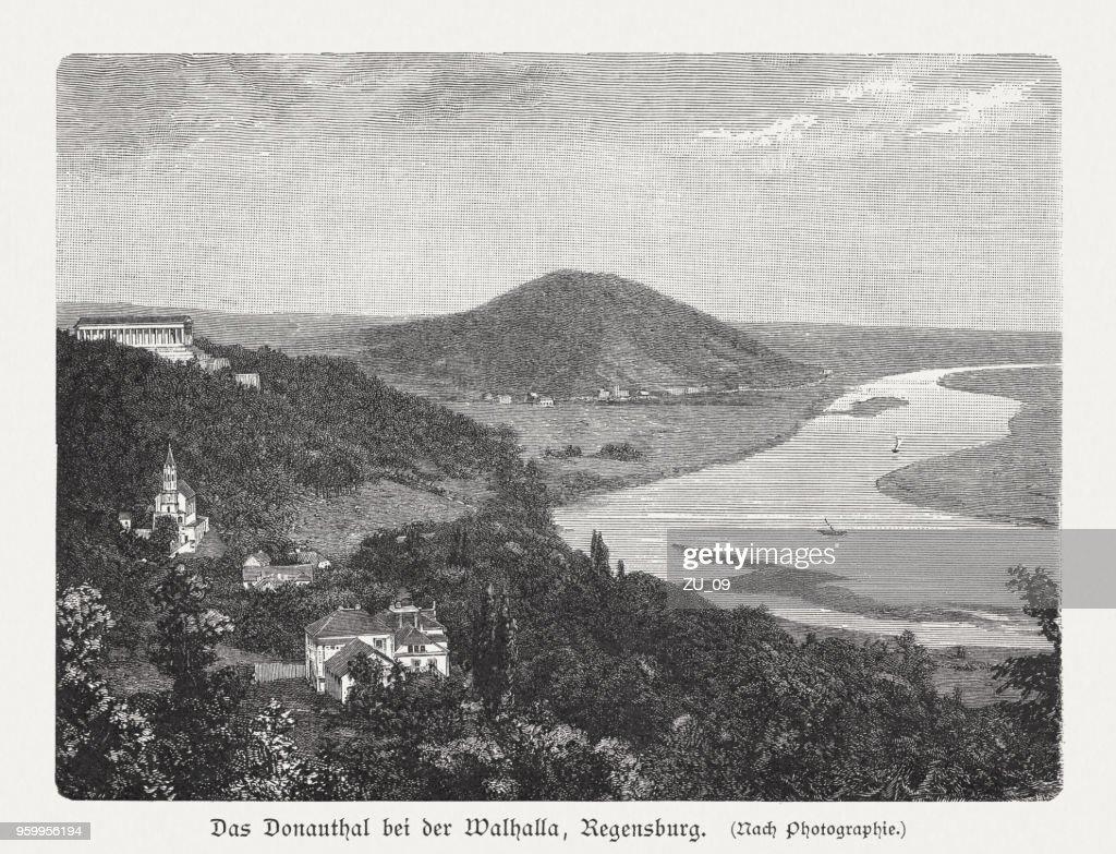 Donautal und Walhalla, Bavaria, Germany, Holzstich, veröffentlicht 1897 : Stock-Illustration
