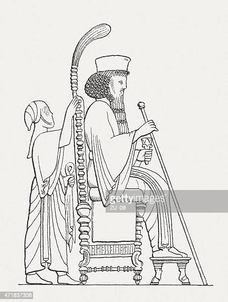 darius i (c.550-486 bc), persian king, wood engraving, published 1881 - bas relief stock illustrations