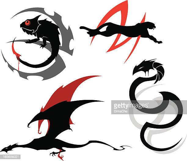 dark animals tattoo set - chameleon stock illustrations, clip art, cartoons, & icons