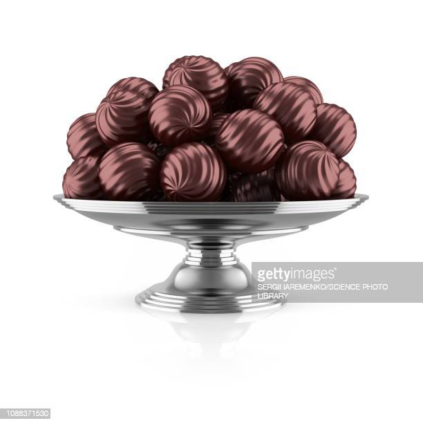 dark chocolates on silver tray, illustration - stack stock illustrations