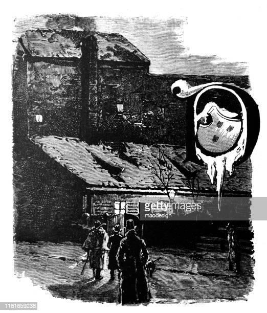 ilustrações, clipart, desenhos animados e ícones de entrada escura à fábrica - 1887
