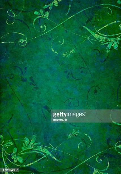 dark green grunge floral background - embellishment stock illustrations