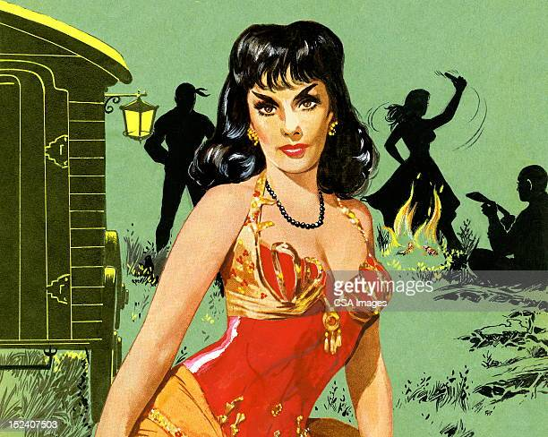 dark haired gypsy woman in red - seduction stock illustrations, clip art, cartoons, & icons