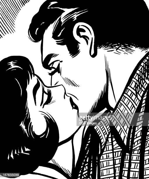 dark haired man and woman kissing - kissing on the mouth stock illustrations, clip art, cartoons, & icons