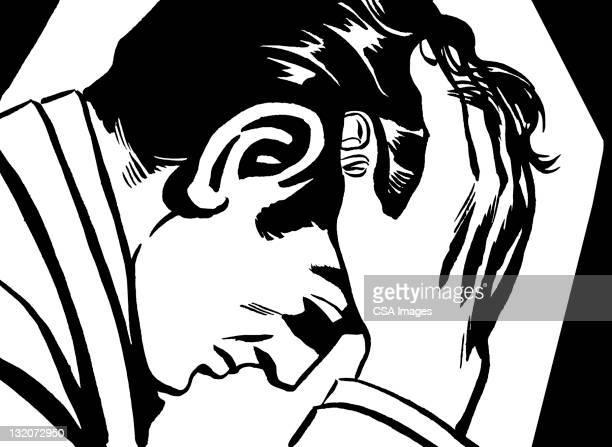 ilustraciones, imágenes clip art, dibujos animados e iconos de stock de pelo oscuro hombre con las manos a la cabeza - hombre sensible