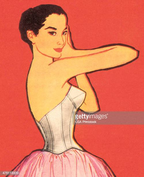 dark haired woman in pink dress - en búsqueda stock illustrations