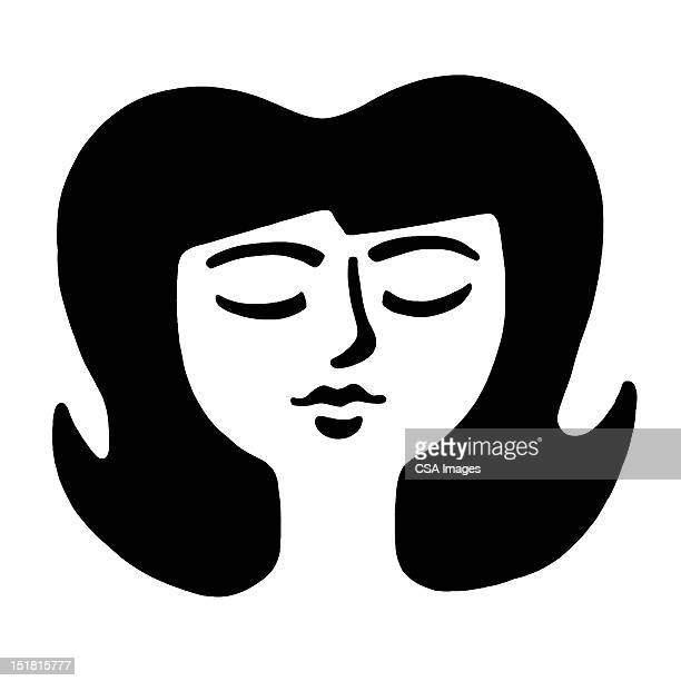 Dark Haired Woman With Eyes Closed