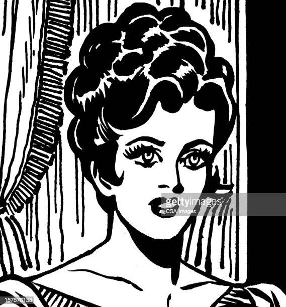 dark haired woman with her hair up - updo stock illustrations, clip art, cartoons, & icons
