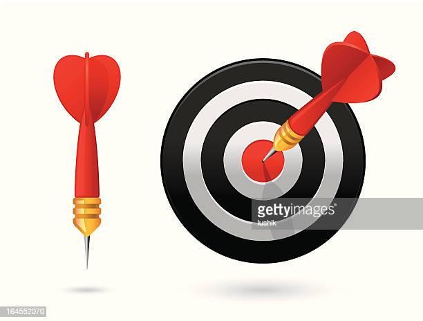dart in bull's-eye - dart stock illustrations, clip art, cartoons, & icons