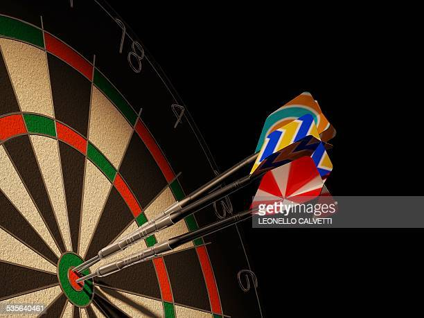 Dartboard and three darts, artwork