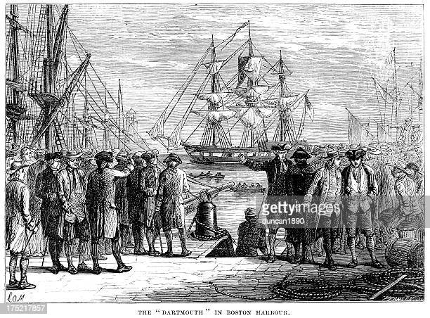 darthmouth in boston harbour - 18th century stock illustrations