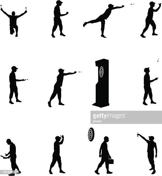 darts silhouette - dart stock illustrations, clip art, cartoons, & icons