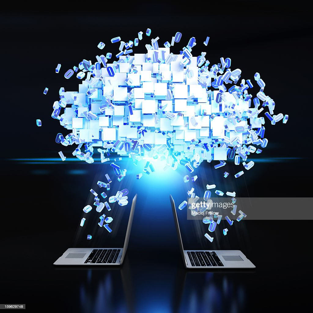 Data cloud over computers with flying numbers : Stock Illustration
