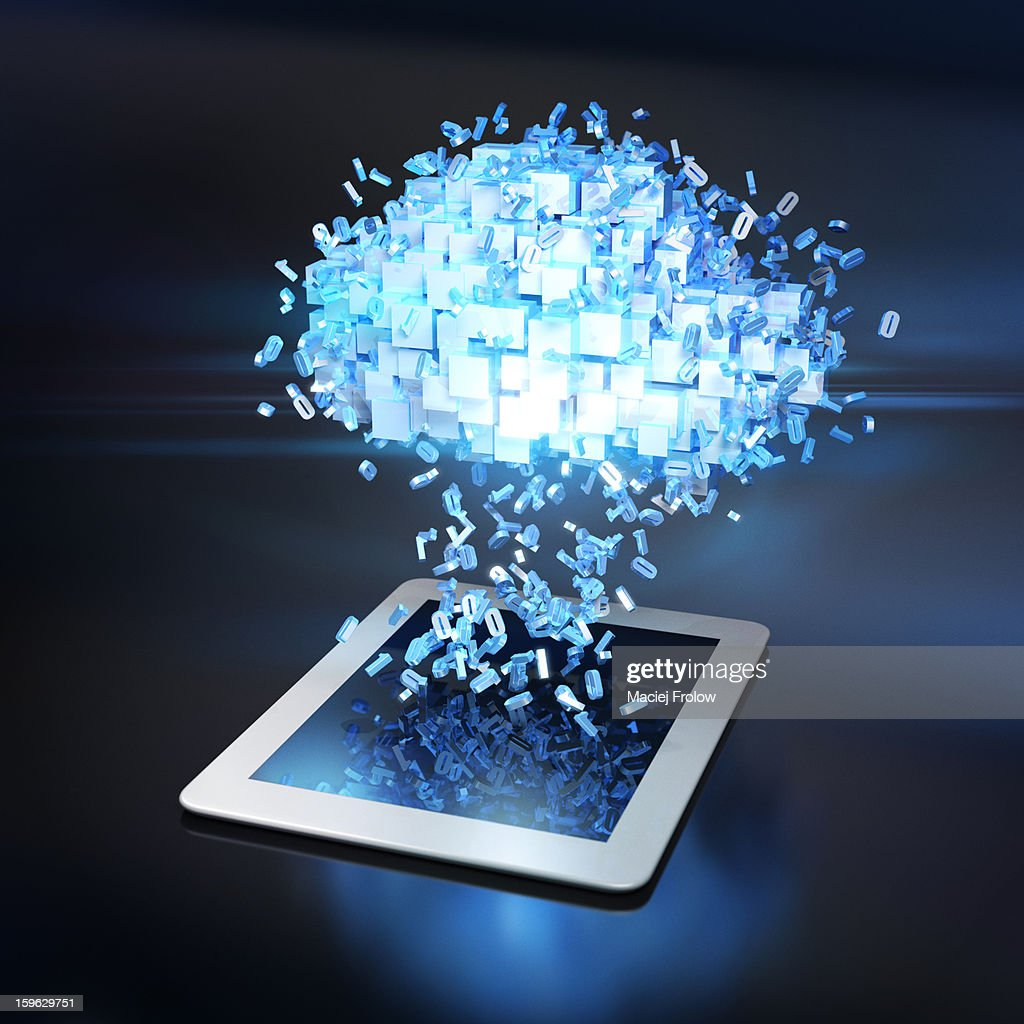 Data cloud over tablet device with flying numbers : stock illustration