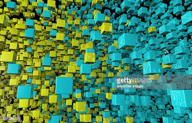 data cloud symbolized by green cubes - order stock illustrations