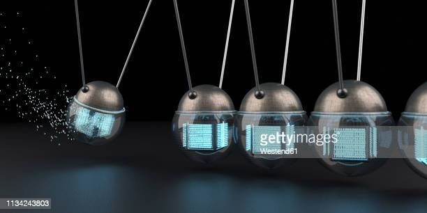 data swinging in a newton's cradle - alertness stock illustrations
