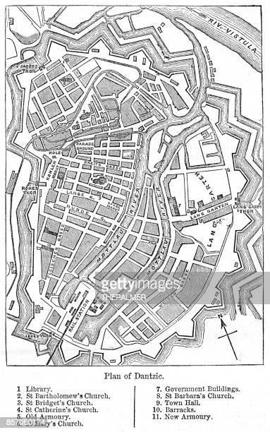 datzig gdansk city plan 1884 - gdansk stock illustrations