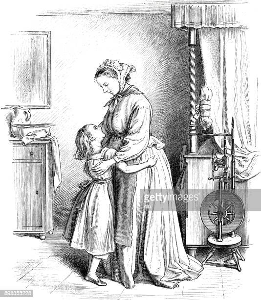 daughter embracing mother in the living room - kids hugging mom cartoon stock illustrations