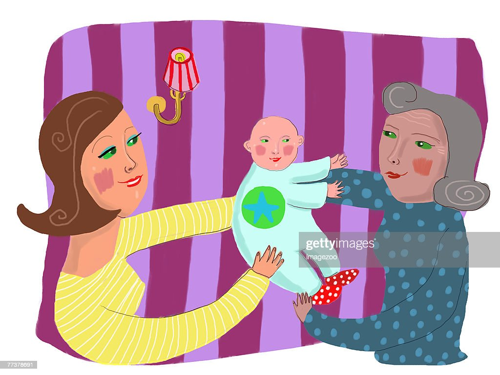 daughter letting her mother carry her baby : Illustration