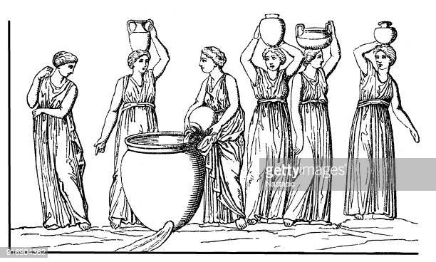 daughters of danaus, also danaids, danaides or danaïdes, were the fifty daughters of danaus - ancient greece stock illustrations, clip art, cartoons, & icons