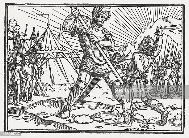 ilustrações de stock, clip art, desenhos animados e ícones de david e golias - luta de espadas