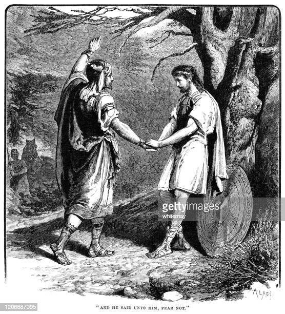 david and jonathan - old testament, book of samuel - biblical event stock illustrations