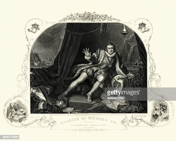 david garrick as richard iii by william hogarth - william shakespeare stock illustrations, clip art, cartoons, & icons