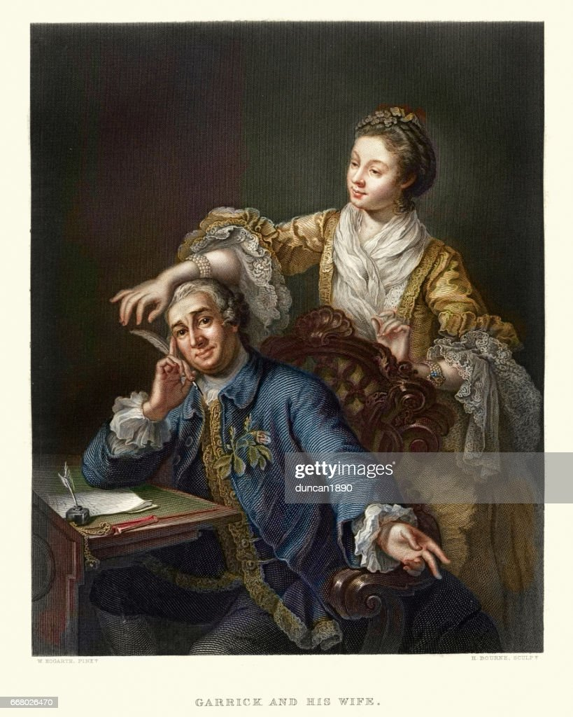 David Garrick with his Wife Eva-Maria Veigel 17th Century : stock illustration