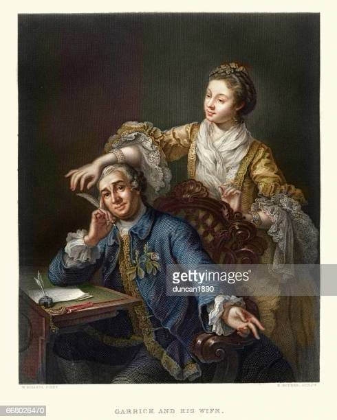 david garrick with his wife eva-maria veigel 17th century - 18th century stock illustrations
