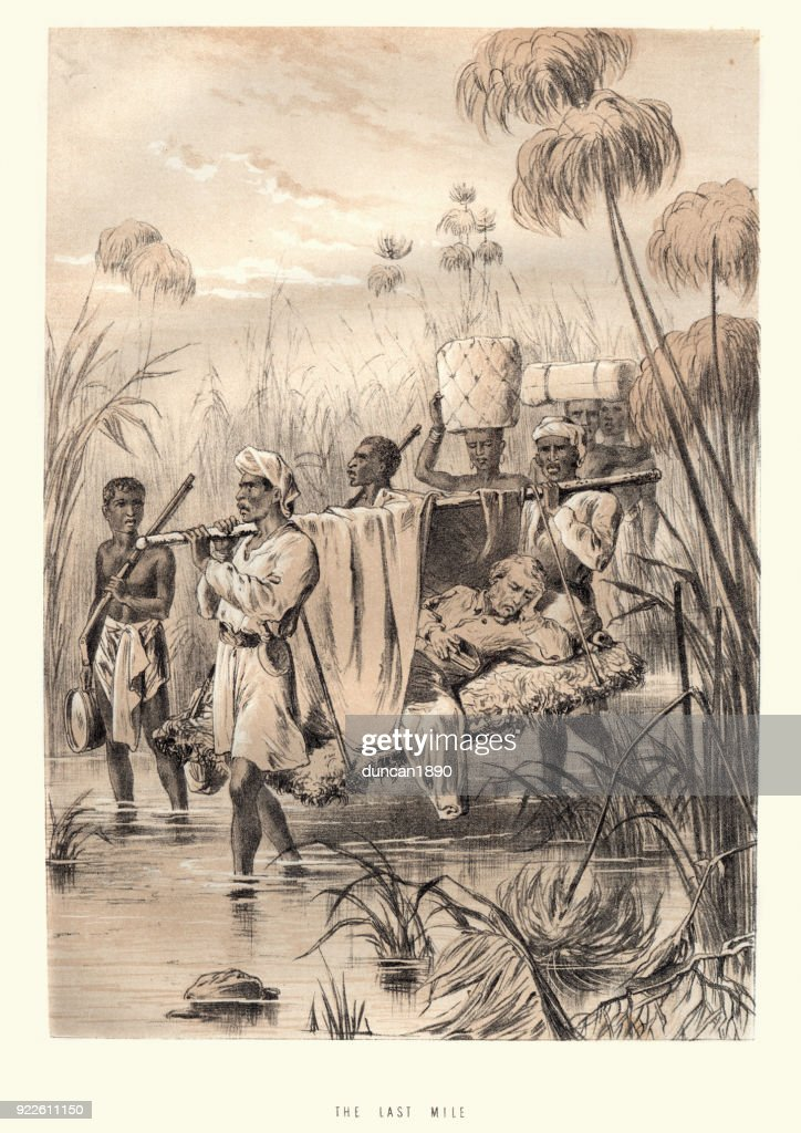 David Livingstone being carried the last mile : stock illustration