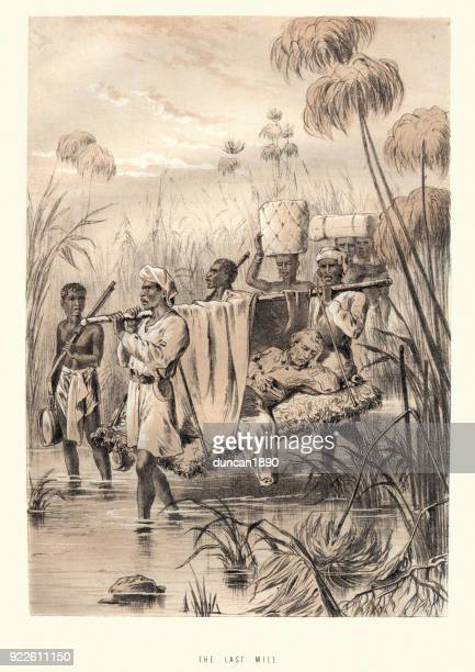 david livingstone being carried the last mile - sedan stock illustrations, clip art, cartoons, & icons
