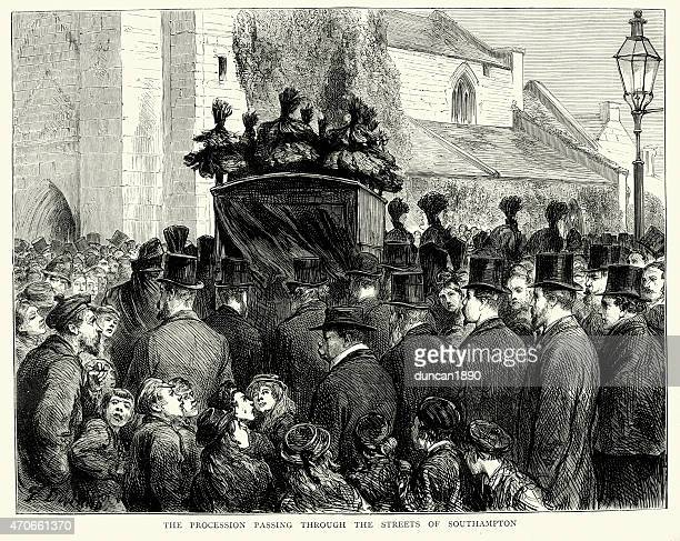 david livingstone's funeral procession - hearse stock illustrations