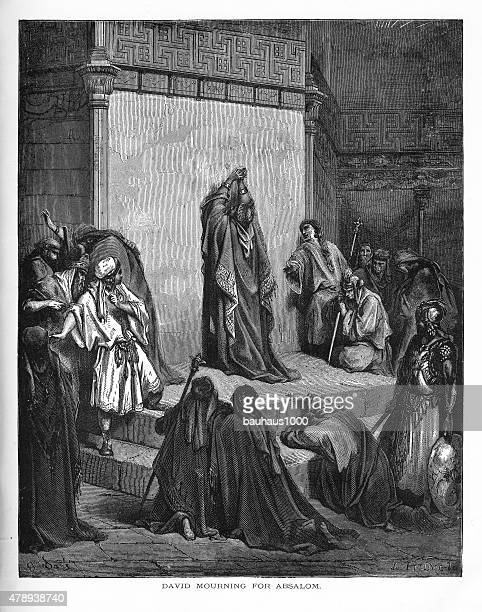 david mourning for absalom biblical engraving - wailing wall stock illustrations, clip art, cartoons, & icons