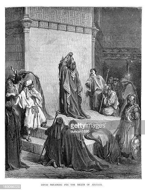 david mourning the death of absalom - gustave dore stock illustrations, clip art, cartoons, & icons