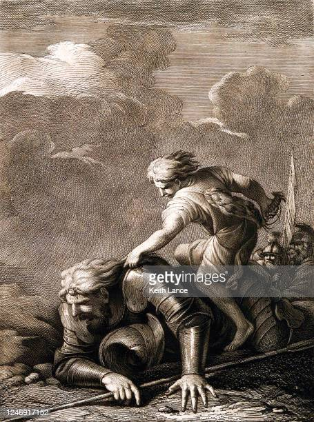 david takes down goliath in battle - biblical event stock illustrations