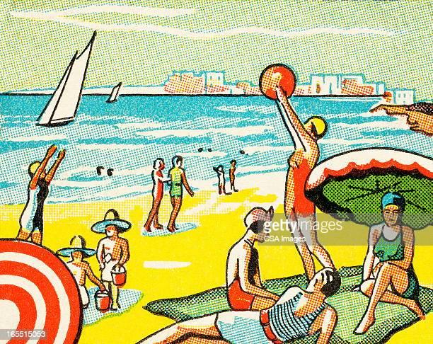 ilustraciones, imágenes clip art, dibujos animados e iconos de stock de un día en la playa - grupo mediano de personas