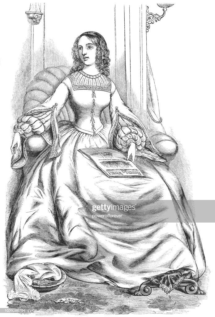 Day Dress - Victorian Style Fashion (1859) : stock illustration