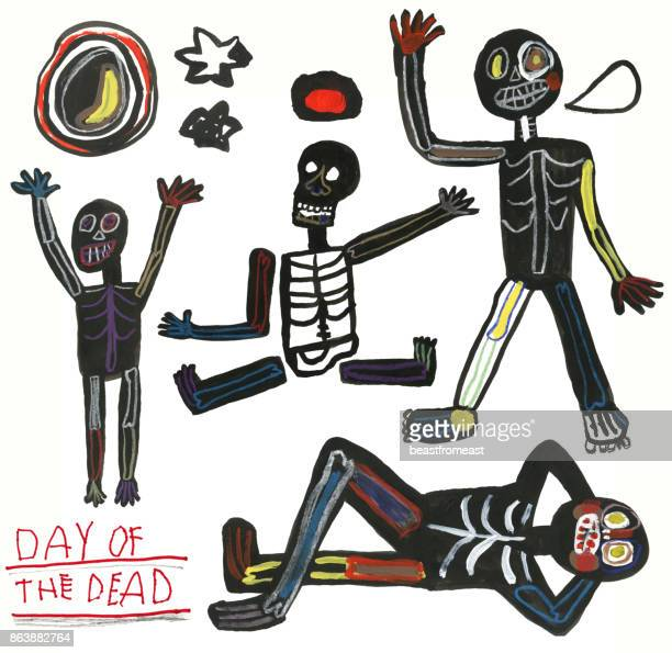 Day of the dead hand drawn set of skeletons, moon and stars