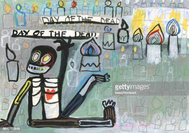 Day of the dead hand painted skeleton and candles background