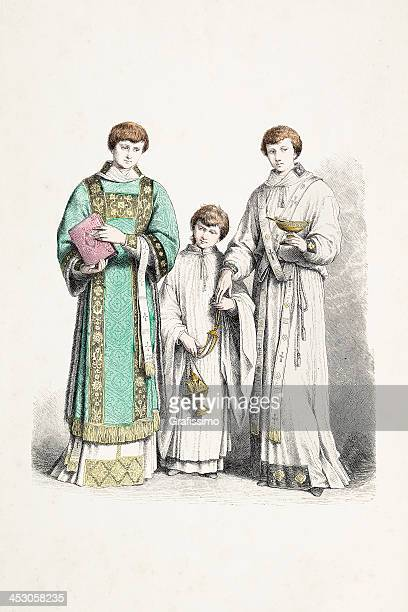 deacon ministrant with traditional costumes from 16th century - 16th century style stock illustrations, clip art, cartoons, & icons