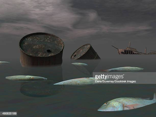 dead fish and oil tanks in polluted ocean near tanker wreck. - water pollution stock illustrations, clip art, cartoons, & icons