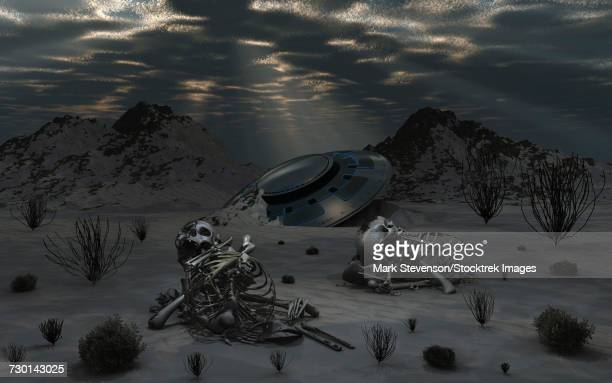 illustrations, cliparts, dessins animés et icônes de dead humanoid remains lying near a crashed ufo in a desert region. - catastrophe aérienne