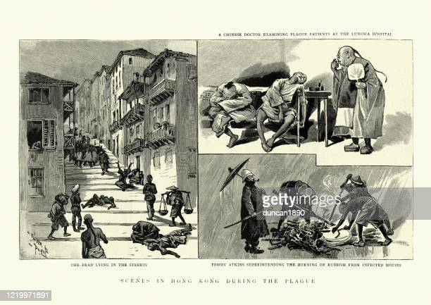 dead lying in streets of hong kong, from bubonic plague - epidemic stock illustrations