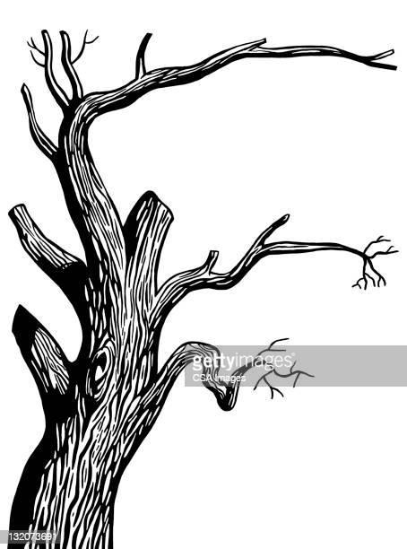 dead tree - tree trunk stock illustrations, clip art, cartoons, & icons
