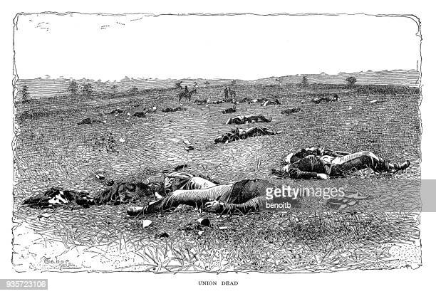 dead union army soldiers - civil war dead stock illustrations