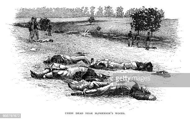 Dead Union Army Soldiers near McPherson's Woods Gettysburg